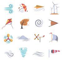 Ícones planas de cor de vento