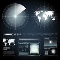 Elementos de tela do conjunto de radar de pesquisa