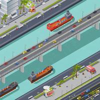 Pontes na composição isométrica da cidade vetor