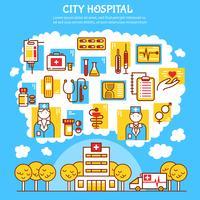 Ilustração em vetor plana médica