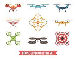 Conjunto Quadrocopter Drone vetor