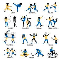 Conjunto de silhuetas de esportistas vetor