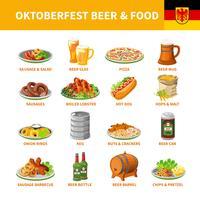 Oktoberfest cerveja comida plana ícones conjunto vetor