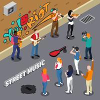 Ilustração isométrica de músicos de rua vetor