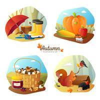 Outono 4 conjunto de ícones quadrados