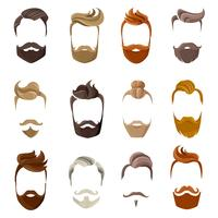 Conjunto de rosto de barba e penteados