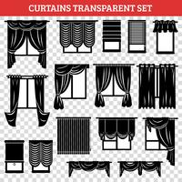 Silhuetas de preto de janelas com cortinas e venezianas vetor