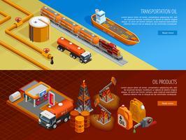 Conjunto de bandeiras de página da Web isométrica de indústria de petróleo vetor