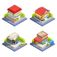 Conjunto de edifícios isométricos de loja