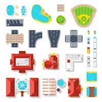 Conjunto de ícones de elementos da cidade vetor