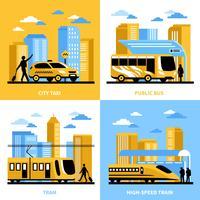 Conceito de Design de transporte 2 x 2 de cidade vetor