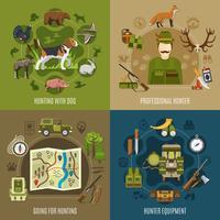 Conjunto de ícones de conceito de caça vetor