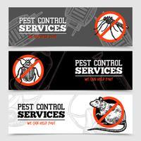 Banners de insetos de controle de pragas de esboço vetor