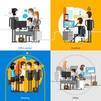 Conceito de Design de pessoas de escritório 2 x 2 vetor
