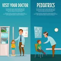Banners verticais de pediatra e criança