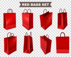 Conjunto de sacolas vermelhas vetor