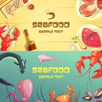 Banners de desenhos animados de frutos do mar vetor