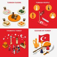 Turquia turística 4 isométrica ícones quadrados