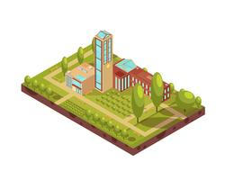 Layout Isométrico do Edifício Universidade Moderna vetor