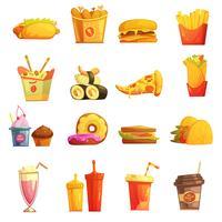 Conjunto de ícones retrô dos desenhos animados de Fast-Food vetor