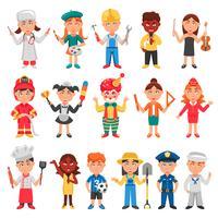 Conjunto de ícones de crianças e profissões