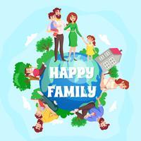 Composição de desenhos animados de família feliz
