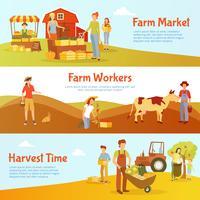 Banners horizontais de fazenda de colheita