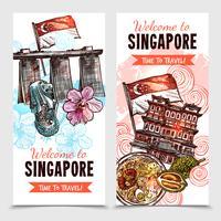 Banners verticais de esboço de Singapura