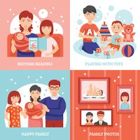 Conjunto de ícones do conceito de família vetor