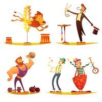 Circus Retro Cartoon 4 ícones quadrados