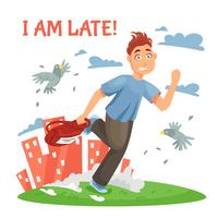 Adolescente atrasado correndo para a escola vetor