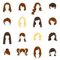 Conjunto de ícones de cabelo de mulher