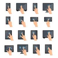 Gestos de mão em dispositivos digitais de toque vetor