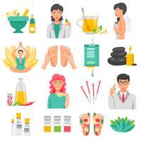 Conjunto de ícones de medicina alternativa vetor