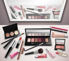 Imagem realista de vista superior do espaço de trabalho de maquiagem