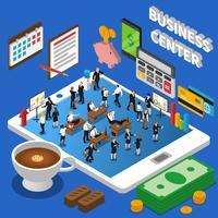 Cartaz isométrico da composição do centro de negócios financeiro