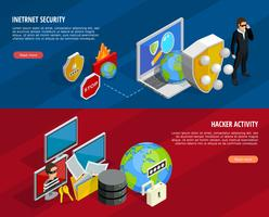 Conjunto de Banners Horizontais de Proteção de Dados vetor