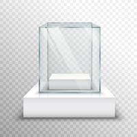 Vitrine de vidro vazio transparente