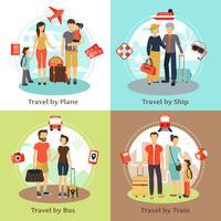 Conceito de viajantes 4 ícones quadrados