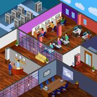 Conceito de Design isométrico de escritório de desenvolvimento vetor