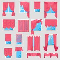 Conjunto de cortinas vermelhas vetor