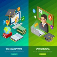 Conjunto de Banners verticais de aprendizagem on-line