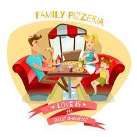 Ilustração em vetor pizzaria família