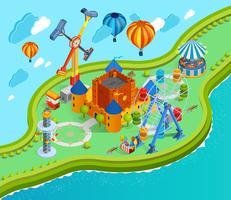 Composição isométrica dos desenhos animados do parque de diversões