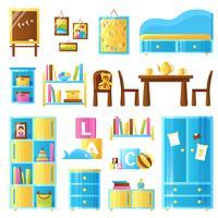 Mobília do quarto do bebê colorido conjunto vetor