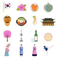 Coleção de ícones plana de símbolos de cultura coreana vetor