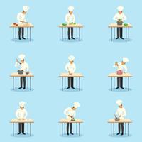 Cozinheiro, profissão, ícones, jogo vetor