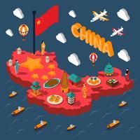 Mapa isométrico turístico de China vetor