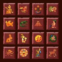 Conjunto de ícones de maia vetor