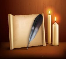 Cartaz de fundo realista de velas de pergaminho de penas vetor